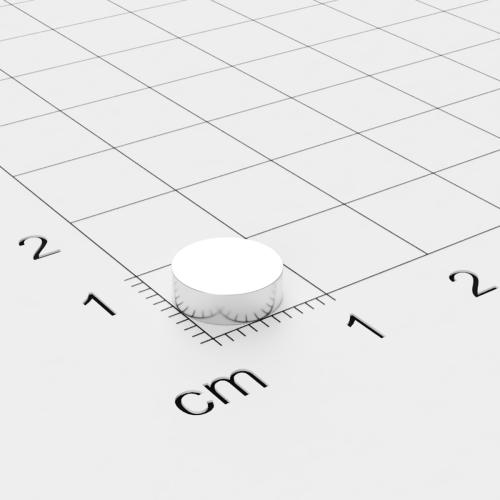 Neodym Scheibenmagnet, 8x2.5mm, vernickelt, Grade N35H, bis 120°C
