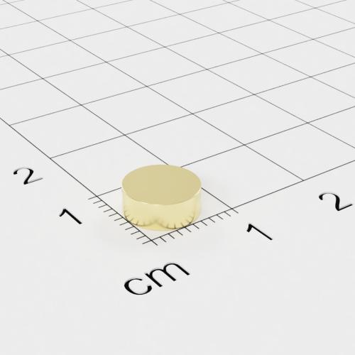 Neodym Scheibenmagnet, 8x3mm, vergoldet, Grade N40