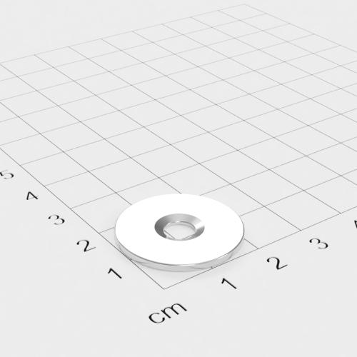 Metallscheibe 23x1,5mm mit Bohrung und Senkung - Haftgrund