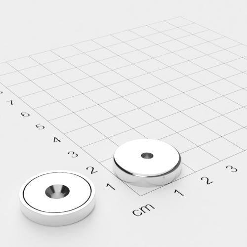 Topfmagnet mit Bohrung und Senkung, 20x4mm, Bohrung 3.5mm, vernickelt, Grade N35