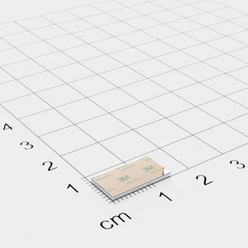 Neodym Quadermagnet,15x8x1mm, vernickelt, selbstklebend, Grade N35 - Anziehend