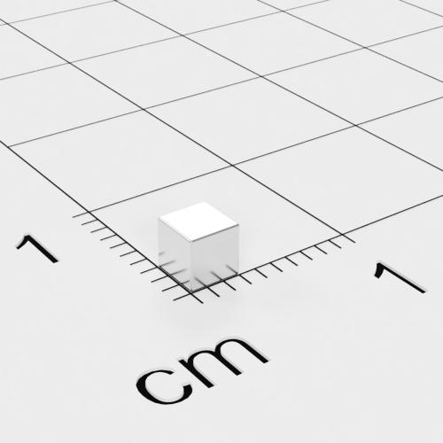 Neodym Würfelmagnet, 3x3x3mm, vernickelt, Grade N52