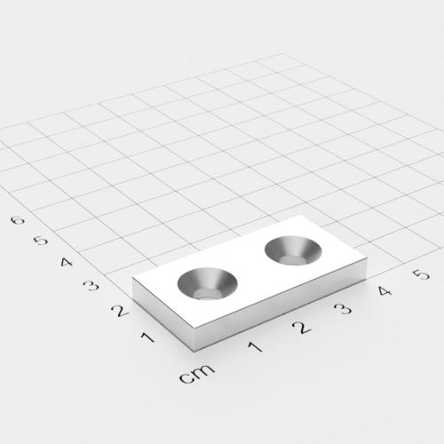 Neodym Quadermagnet mit Bohrung und Senkung, 40x20x5mm, 2x5,5mm Bohrung, vernickelt, Grade N35