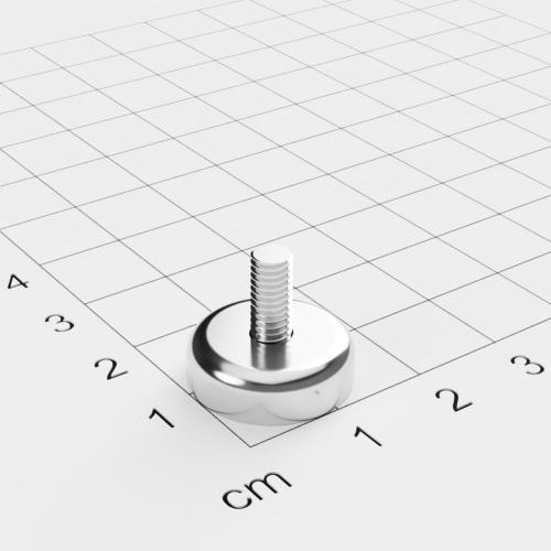 Topfmagnet mit Außengewinde, D=16mm, H=5mm, vernickelt, Grade N42, Gewinde M4
