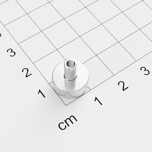 Topfmagnet mit Innengewinde, D=12mm, H=5mm, vernickelt, Grade N35, Gewinde M3