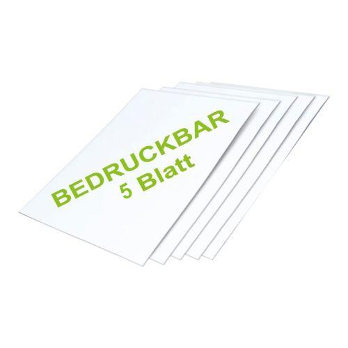 Bedruckbare Magnetfolie DIN A3, glänzend, selbstklebend zum Beschriften und Zuschneiden - 5er-Set