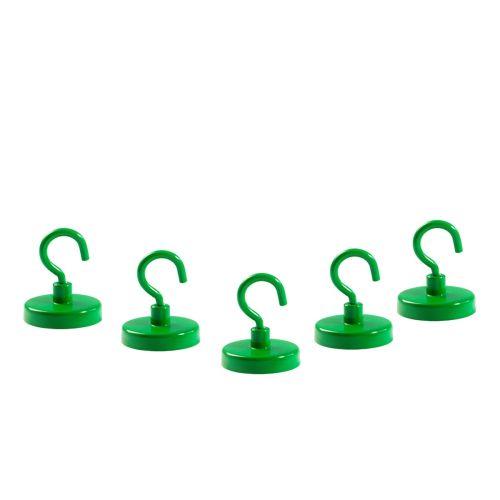 5 x Grüne Hakenmagnete, D=32 mm, H=7 mm, Hartferrit Y35, Gewinde M4