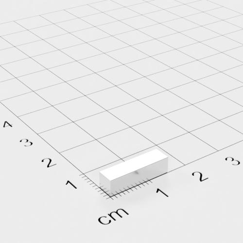 Neodym Quadermagnet, 15x4x4mm, vernickelt, Grade N45M, bis 100°C