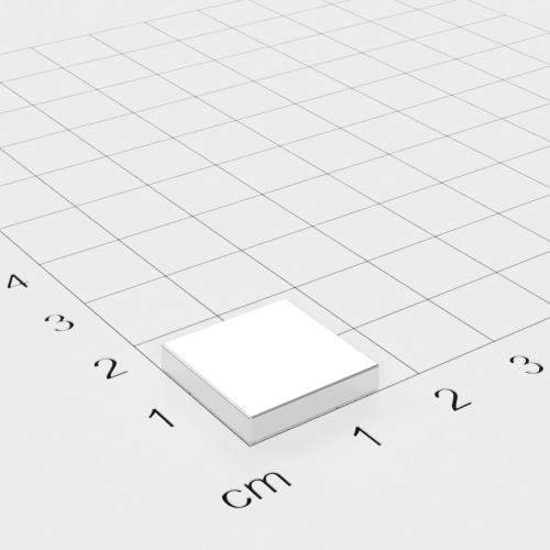 Neodym Quadermagnet, 15x15x3mm, vernickelt, Grade N45