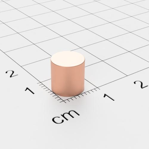Neodym Scheibenmagnet, 8x8mm, verkupfert, Grade N45