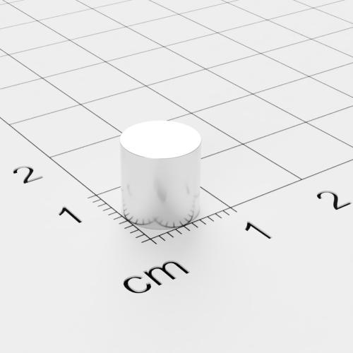 Neodym Scheibenmagnet, 8x8 mm, vernickelt, Grade N45