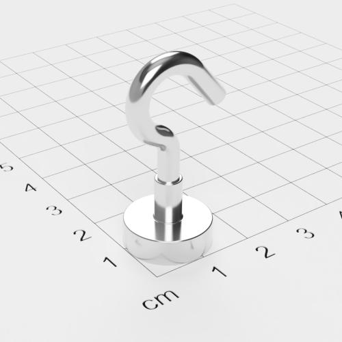 Topfmagnet mit Haken, D=16 mm, H=5 mm, vernickelt, Grade N38, Gewinde M4