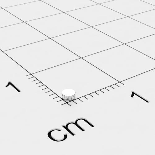 Neodym Scheibenmagnet, 2x0.8mm, vernickelt, Grade N35H, bis 120°C