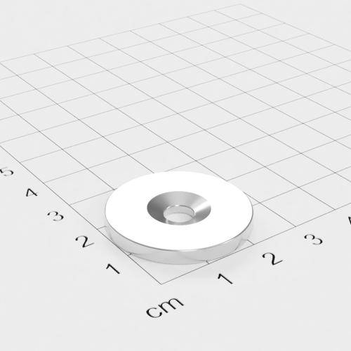 Metallscheibe 27x3mm mit Bohrung und Senkung - Haftgrund