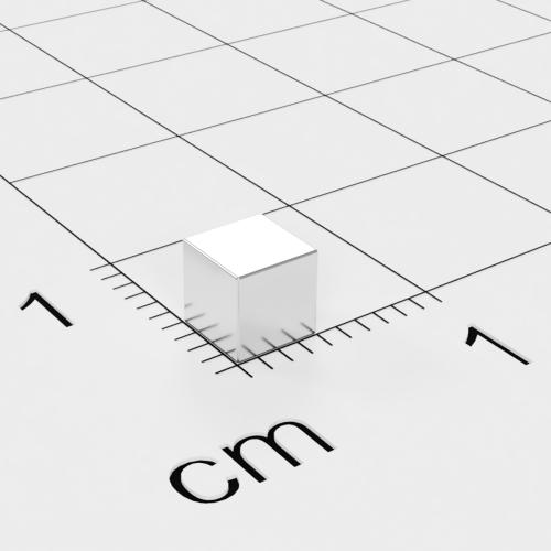 Neodym Würfelmagnet, 4x4x4mm, vernickelt, Grade N42