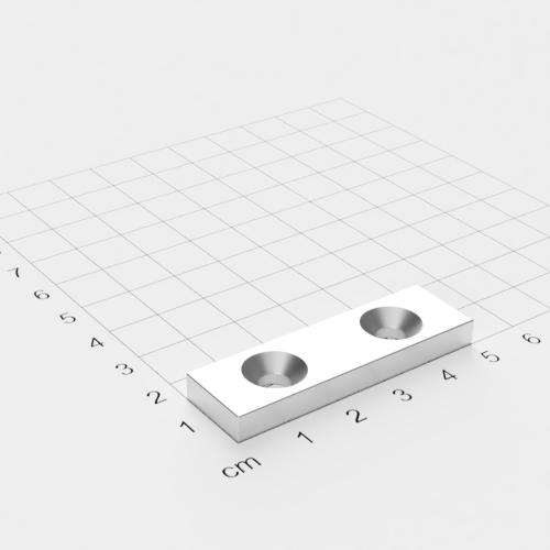 Neodym Quadermagnet mit Bohrung und Senkung, 50x15x10mm, 2x5.5mm Bohrung, vernickelt, Grade N52
