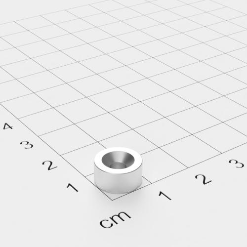 Neodym Scheibenmagnet mit Bohrung und Senkung, 10x5mm, 3.4mm Bohrung, vernickelt, Grade N40