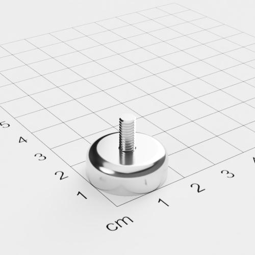 Topfmagnet mit Außengewinde, D=20mm, H=7mm, vernickelt, Grade N42, Gewinde M4