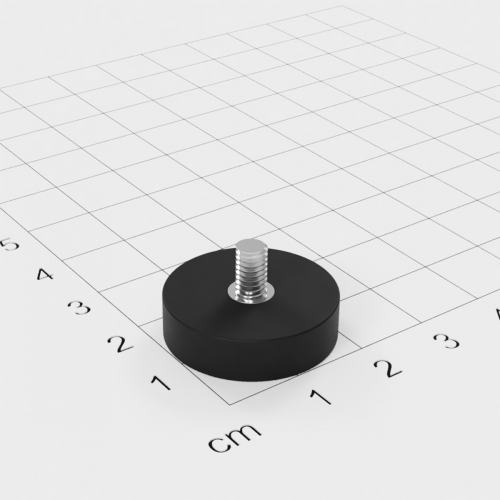 Magnetsystem mit Außengewinde, D=22mm, H=6mm, gummiert, Grade N35, Gewinde M4