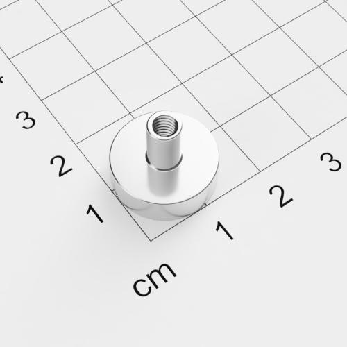 Topfmagnet mit Innengewinde, D=16mm, H=5mm, vernickelt, Grade N38, Gewinde M4