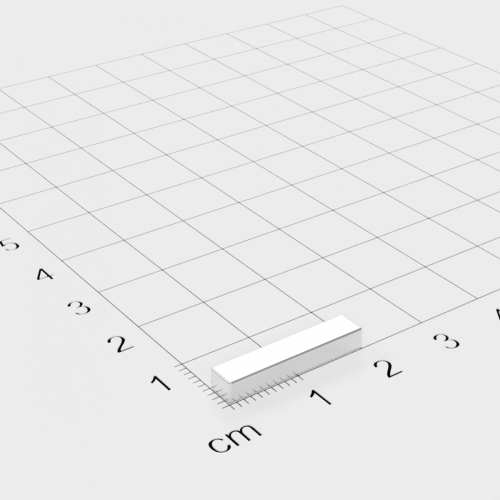 Neodym Quadermagnet, 20x4x3mm, vernickelt, Grade N45