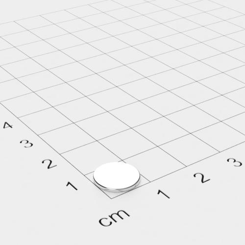 Neodym Scheibenmagnet, 10x1mm, vernickelt, Grade N35