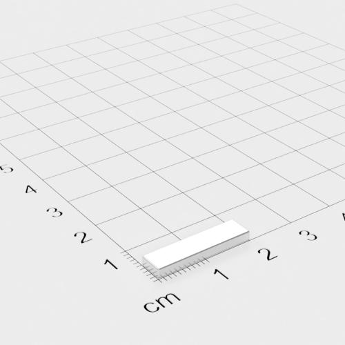 Neodym Quadermagnet, 20x5x2mm, vernickelt, Grade N48