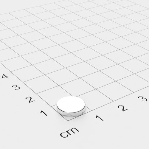 Neodym Scheibenmagnet, 10x2 mm, vernickelt, Grade N42SH bis 150°C