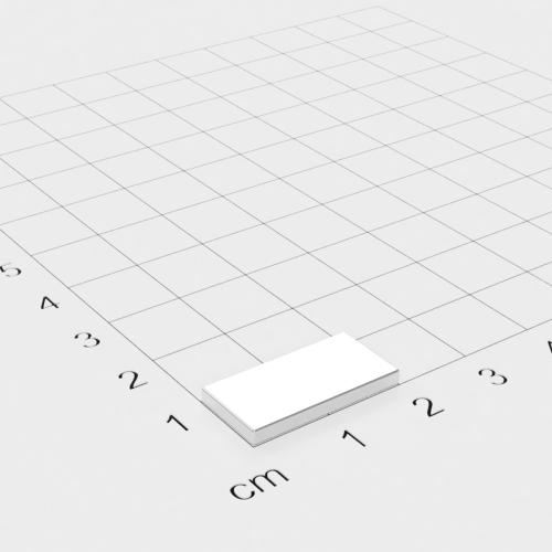 Neodym Quadermagnet, 20x10x2mm, vernickelt, Grade N48