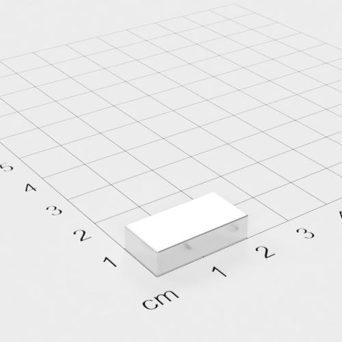 Neodym Quadermagnet, 20x10x5mm, vernickelt, Grade N42