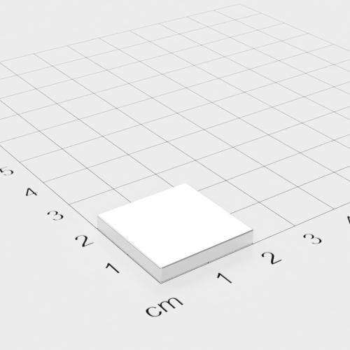Neodym Quadermagnet, 20x20x3mm, vernickelt, Grade N45