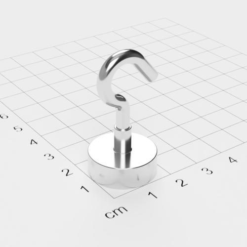 Topfmagnet mit Haken, D=20 mm, H=7 mm, vernickelt, Grade N35, Gewinde M4