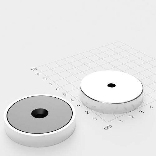 Topfmagnet Ferrit, 50x10mm mit Bohrung und Senkung