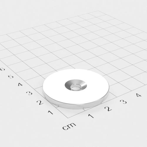 Metallscheibe 34x3mm mit Bohrung und Senkung - Haftgrund