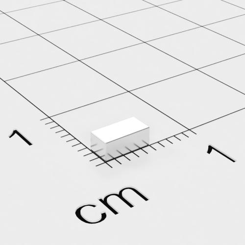 Neodym Quadermagnet, 5x2.5x2mm, vernickelt, Grade N44H, bis 120°C