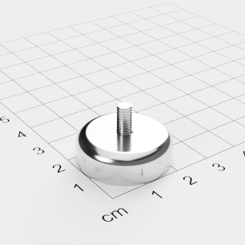 Topfmagnet mit Außengewinde,  D=25mm, H=8mm, vernickelt, Grade N42, Gewinde M4