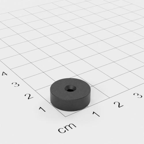 Ferrit Scheibenmagnet mit Bohrung und Senkung, 14.6x5 mm, 2,2 mm Bohrung, Grade Y30
