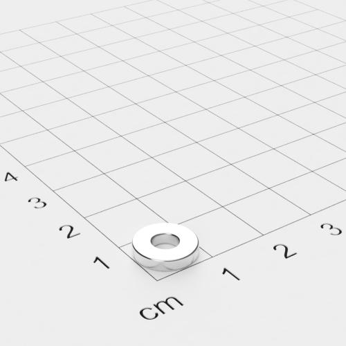 Neodym Ringmagnet, 10x2mm mit 4mm Bohrung, vernickelt, Grade N45