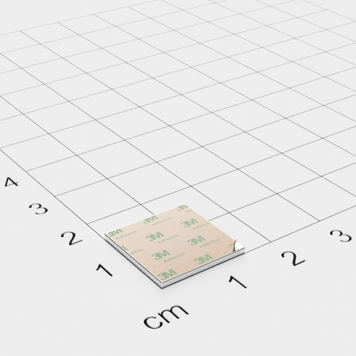 Neodym Quadermagnet, 15x15x1mm, vernickelt, selbstklebend, Grade N35 - Anziehend