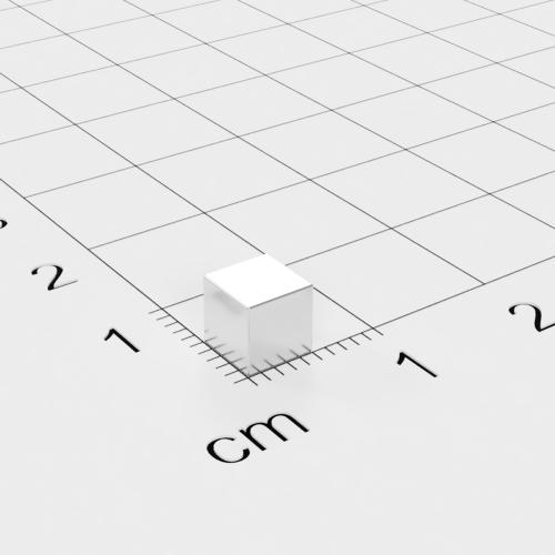 Neodym Würfelmagnet, 5x5x5mm, vernickelt, Grade N52