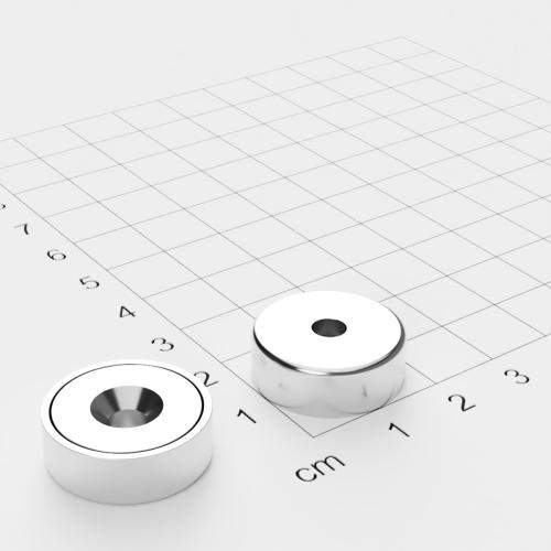 Topfmagnet mit Bohrung und Senkung, 20x7mm, Bohrung 4.5mm, vernickelt, Grade N35