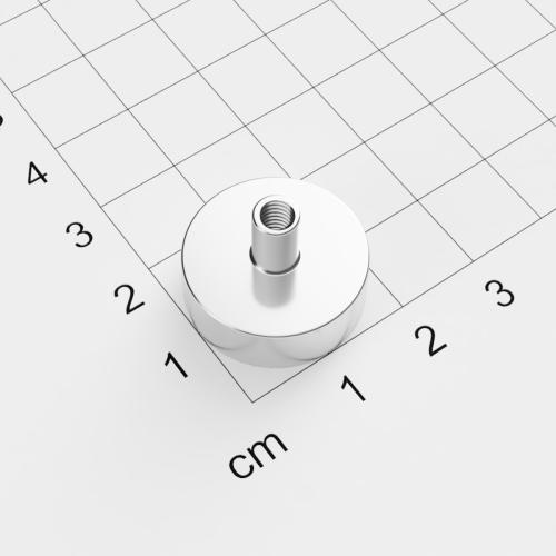 Topfmagnet mit Innengewinde, D=20mm, H=7mm, vernickelt, Grade N35, Gewinde M4
