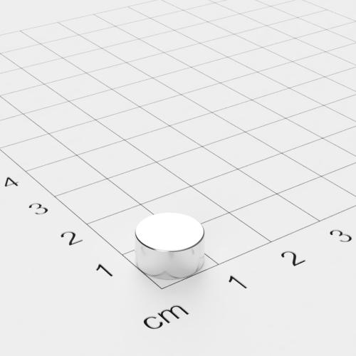 Neodym Scheibenmagnet, 10x5mm, vernickelt, Grade N42SH bis 150°C