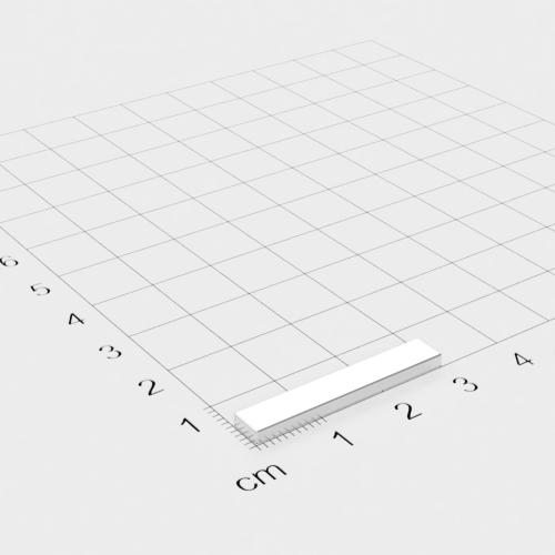Neodym Quadermagnet, 30x5x2mm, verzinkt, Grade N35