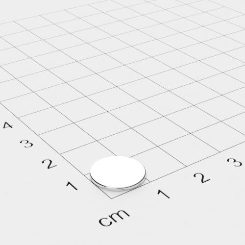 Neodym Scheibenmagnet, 12x1mm, vernickelt, Grade N42