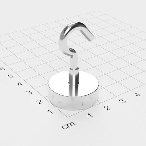 Topfmagnet mit Haken, D=25 mm, H=8 mm, vernickelt, Grade N38, Gewinde M4