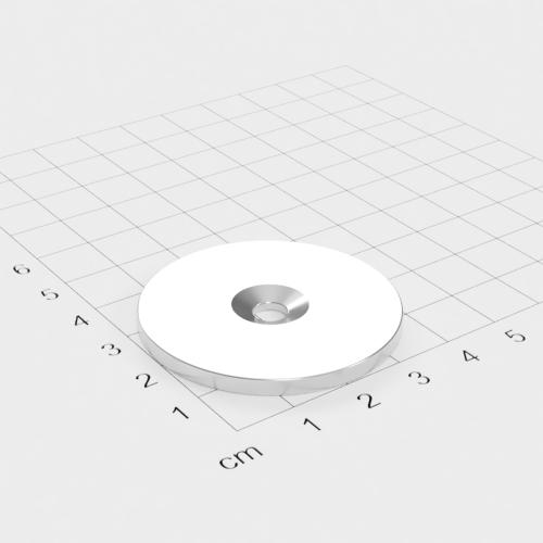 Metallscheibe 42x3mm mit Bohrung und Senkung - Haftgrund