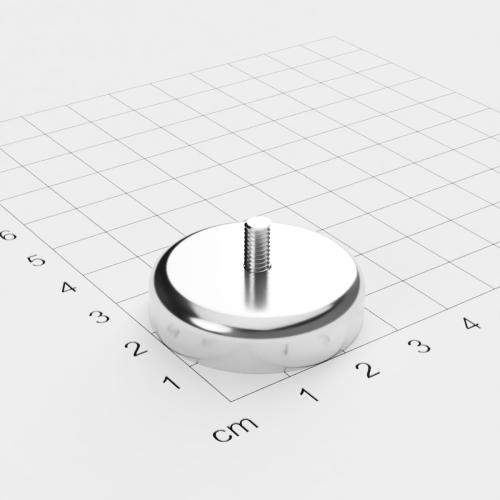 Topfmagnet mit Außengewinde, D=32mm, H=8mm, vernickelt, Grade N42, Gewinde M4