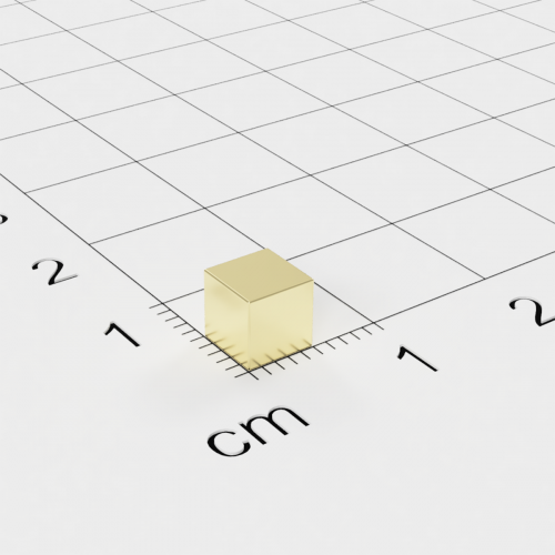 Neodym Würfelmagnet, 5x5x5mm, vergoldet, Grade N42