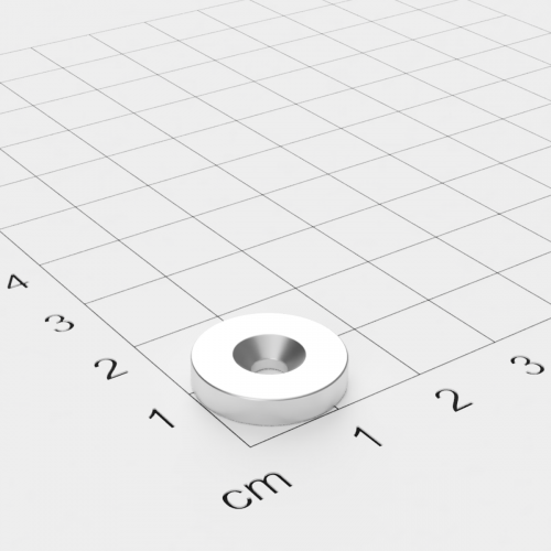 Neodym Scheibenmagnet mit Bohrung und Senkung, 15x3mm, 3.5mm Bohrung, vernickelt, Grade N45